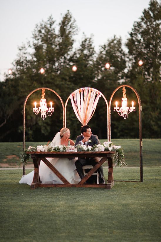 Sweetheart table decor idea with chandeliers