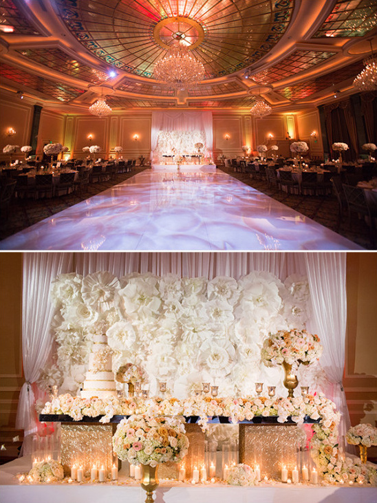 Wedding venue and sweetheart table details