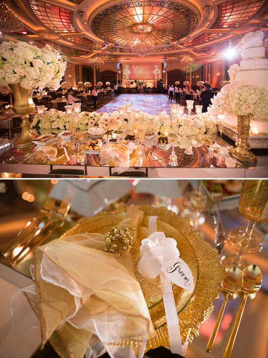 Glam sweetheart table details in blush and gold