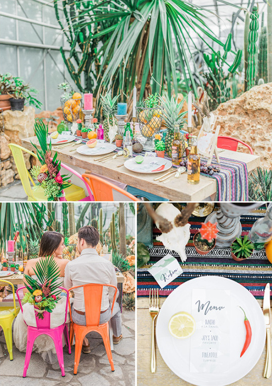 brightly colored wedding table decor