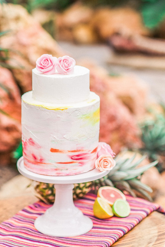 watercolor inspired wedding cake