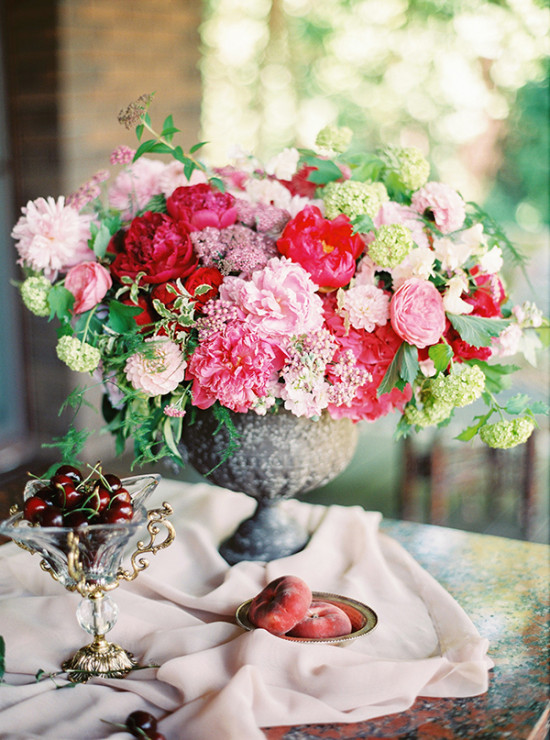 red pink and green flower arrangement