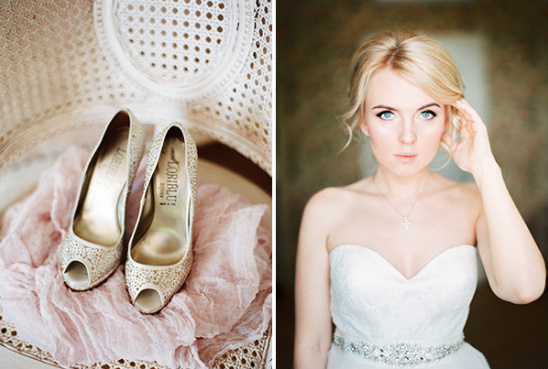 wedding shoes and wedding makeup