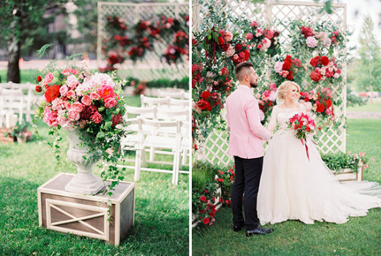 pink red and white wedding ceremony