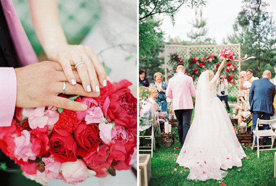 wedding rings and flower petal confetti