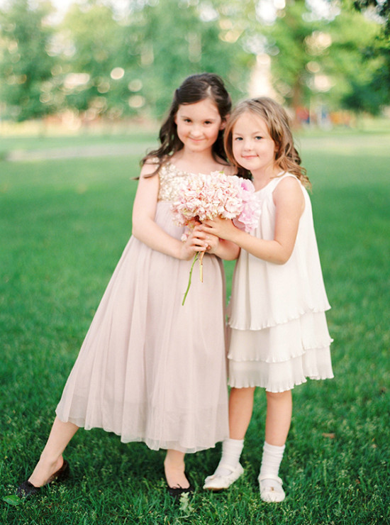 flower girls in soft pink