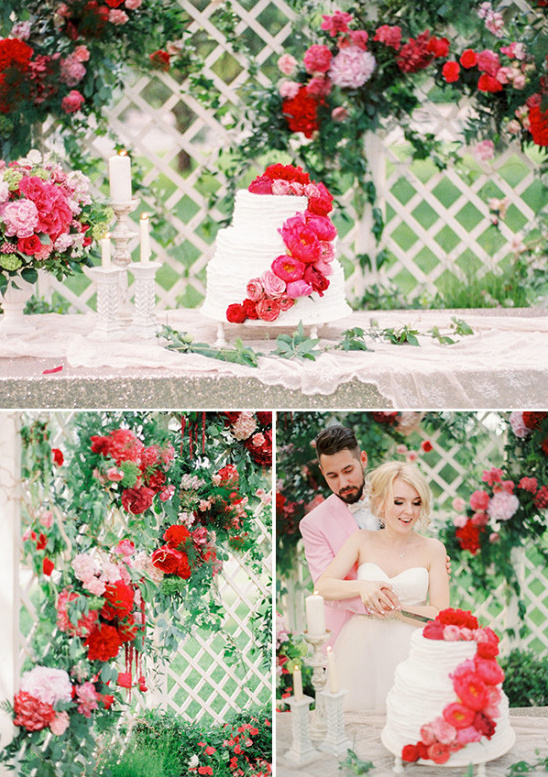 lattice cake table backdrop with red floral accents