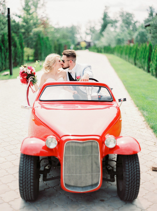 red wedding getaway car