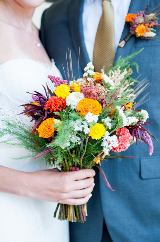 vibrant colorful wildflower wedding bouquet