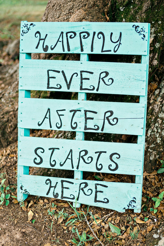 blue pallet wedding sign