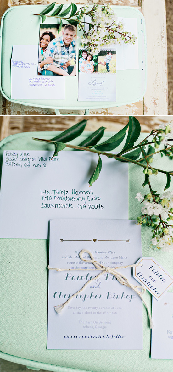 cute arrow and pictures wedding stationery