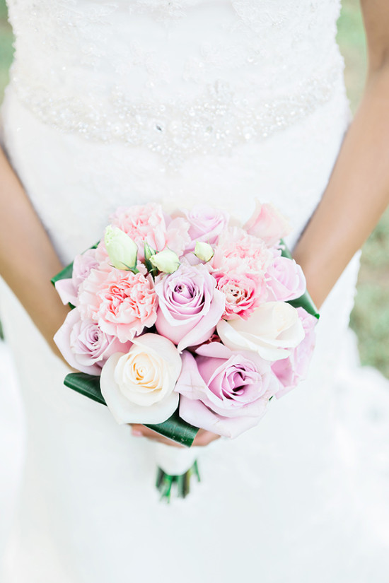 pink and lavender rose wedding bouquet