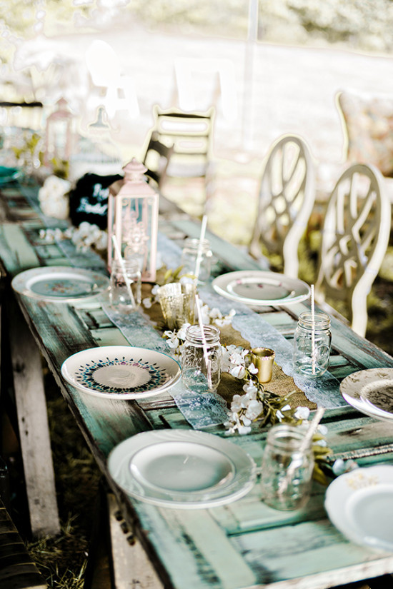 family style rustic wedding reception