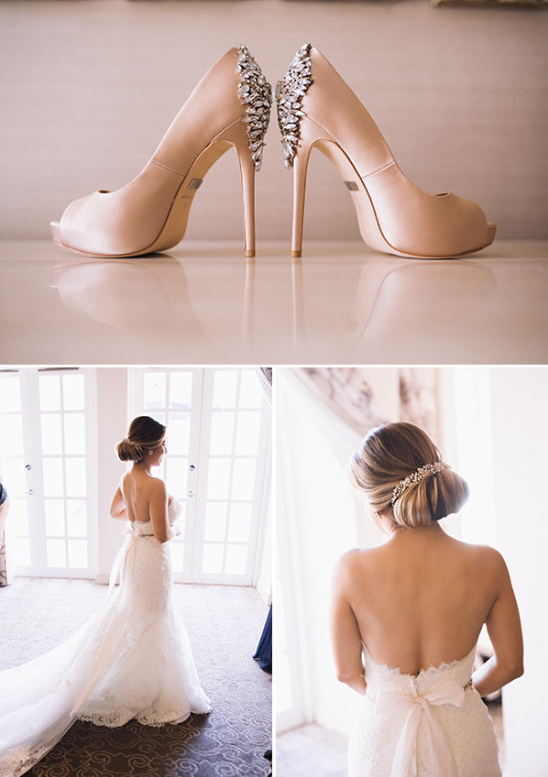 wedding shoes and strapless dress