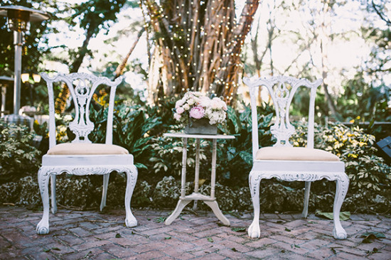 vintage wedding chairs and decor idea