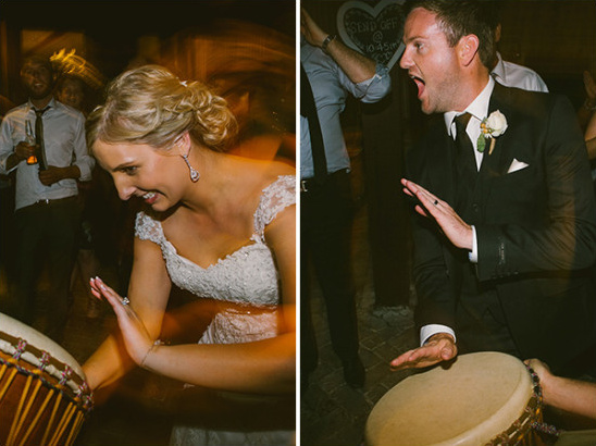 bride and groom jam out