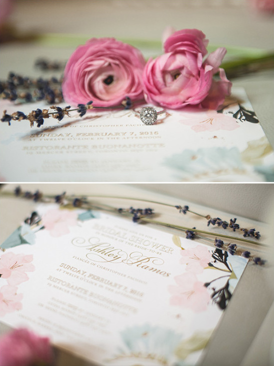 Bridal shower invites and engagement ring