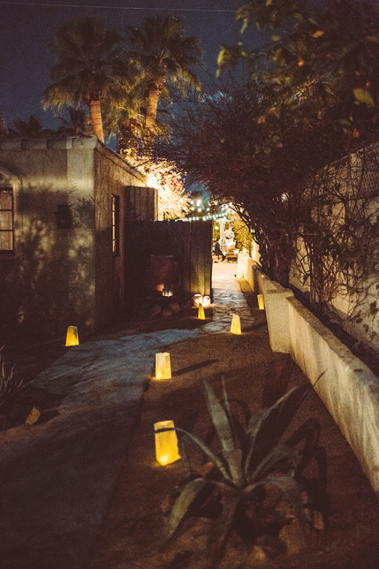 lantern lit walk way wedding lighting
