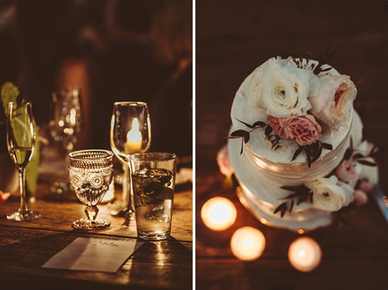 candle lite wedding reception and flower topped cake