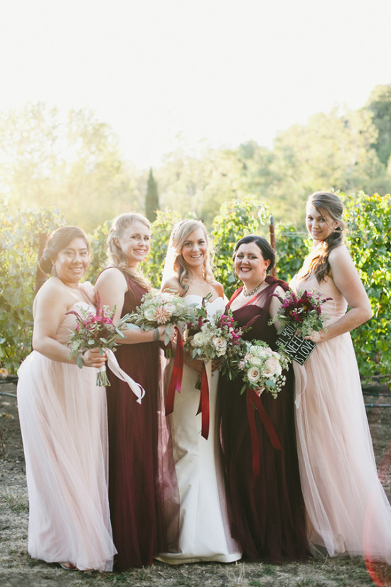 pink and deep red bridesmaids