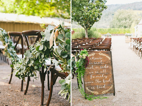 ecalyptus garland wedding decor and rustic sign