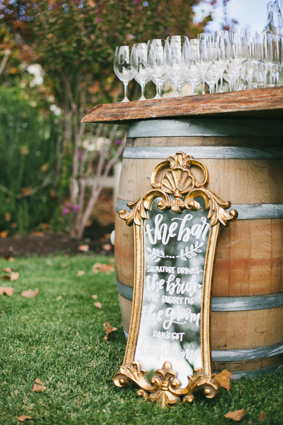 vintage mirror wedding bar sign