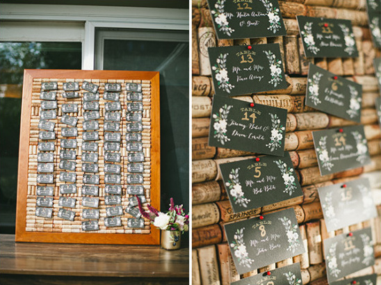 wedding placecard wine cork display