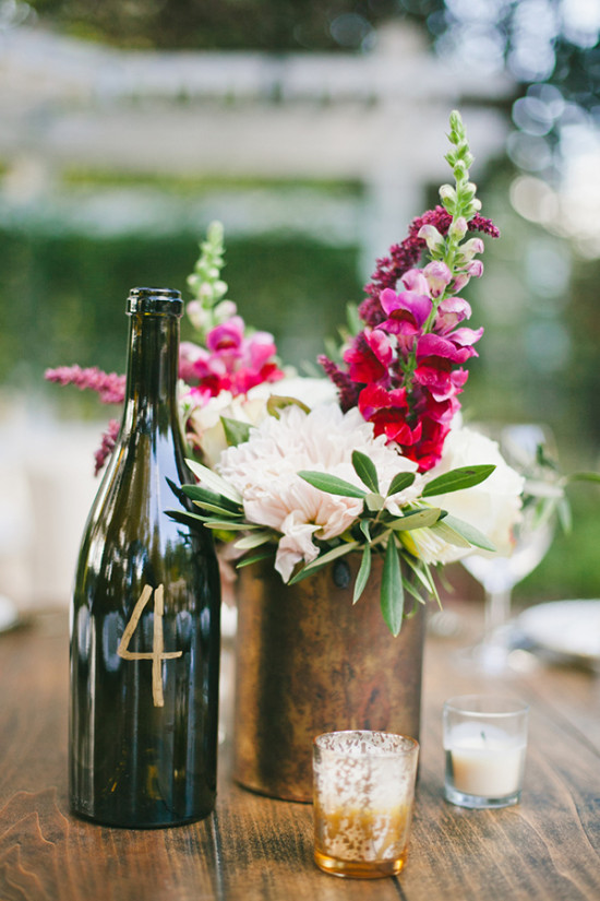 wine bottle table number and centerpiece