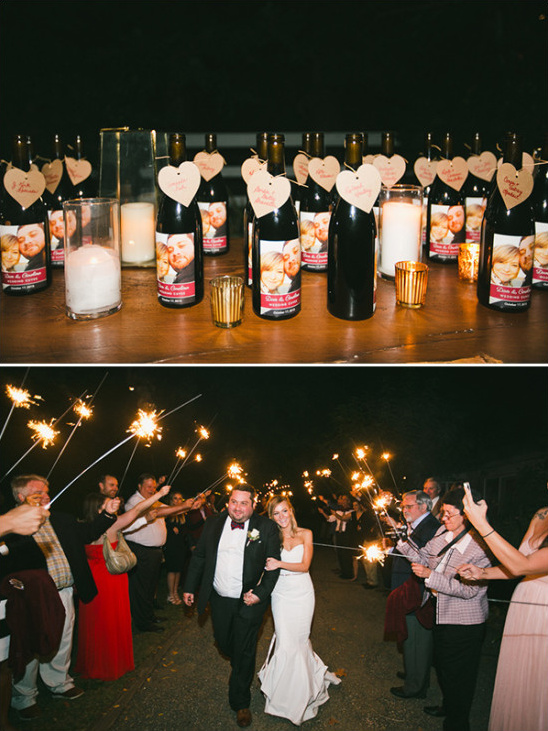 wine wedding favors and sparkler exit