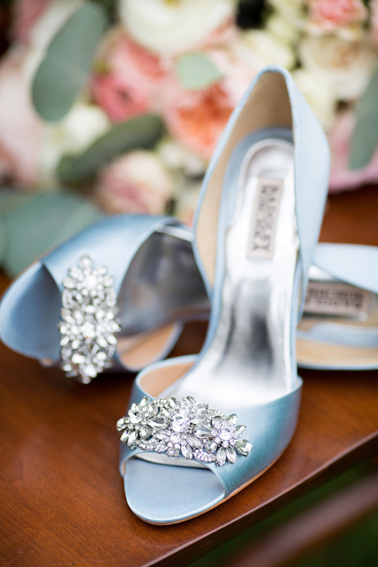 Satin blue Badgley Mischka heels