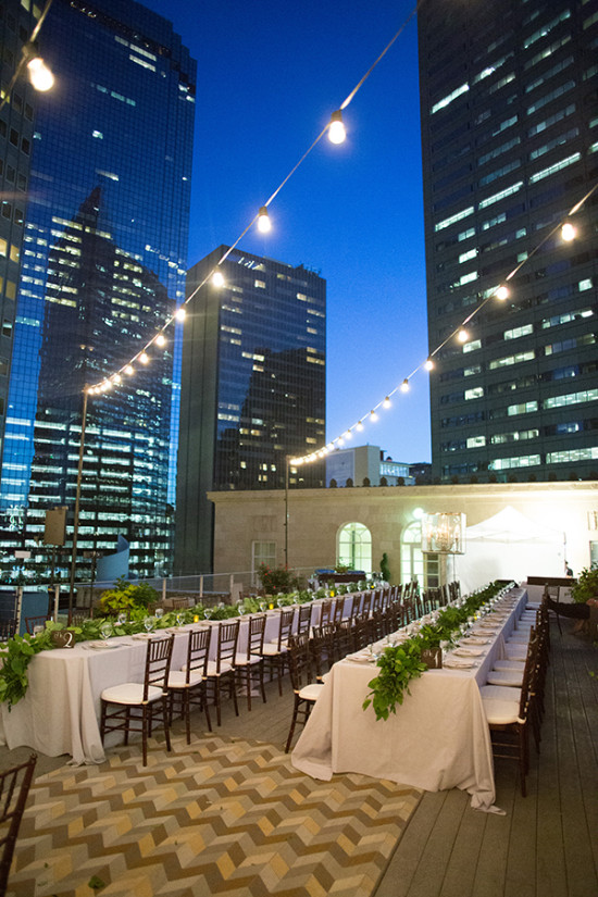 roof top city wedding reception