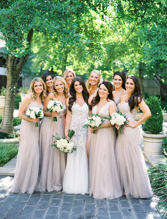 glamorous neutral bridesmaid dresses