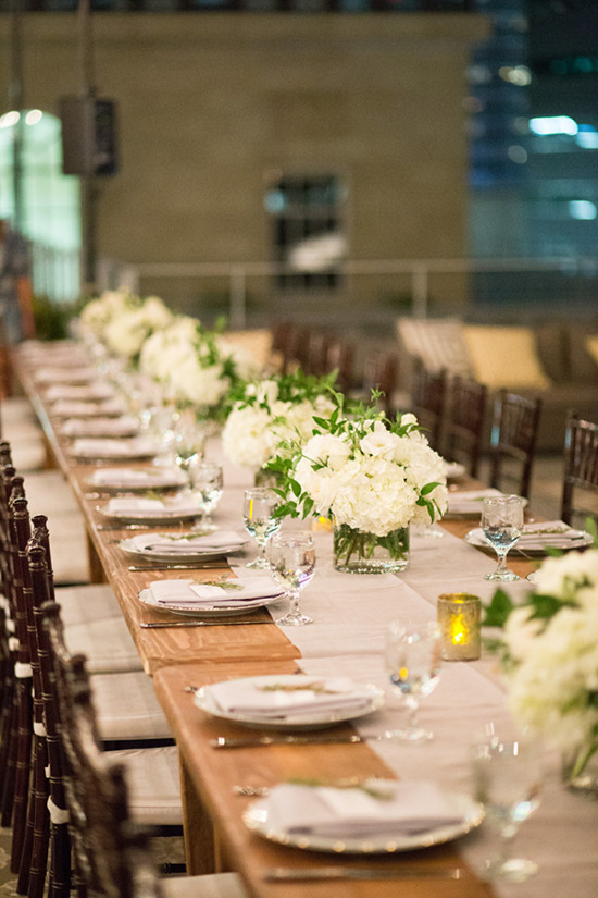 long family style reception tables
