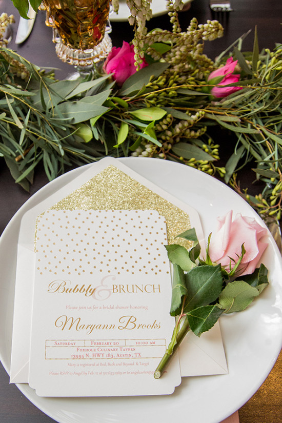 gold and pink bridal shower invitation