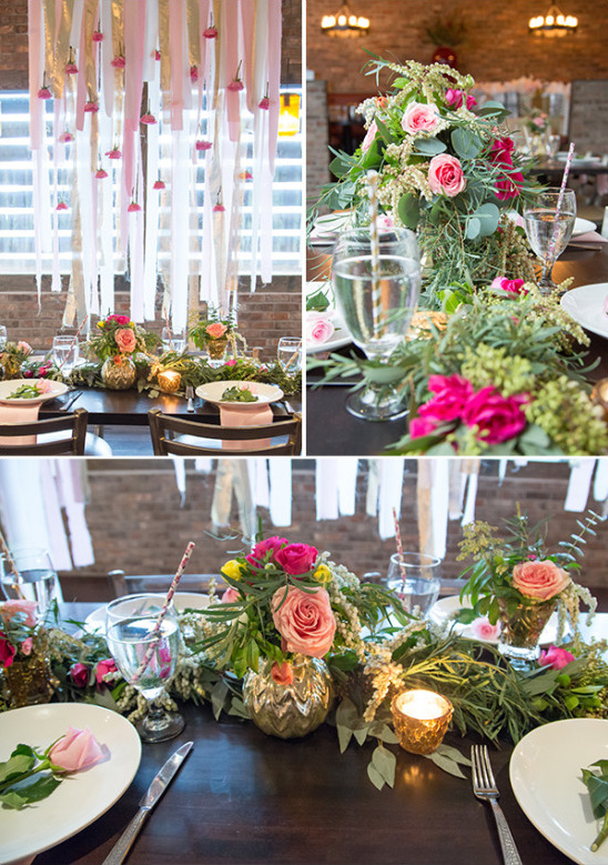 rose garland centerpiece and streamer table halo