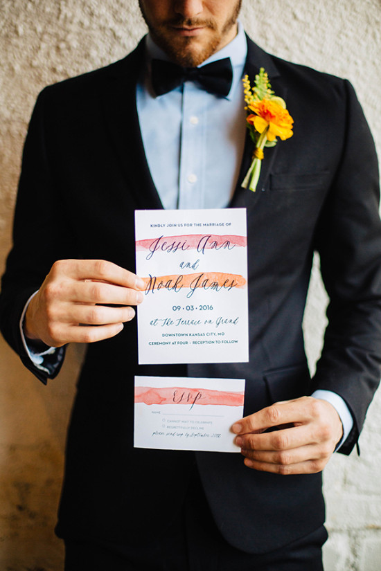 pink and orange watercolor wedding invites