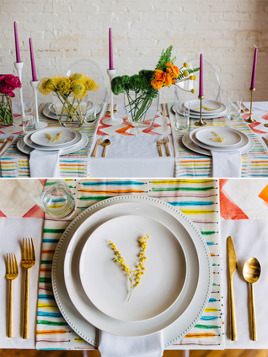 bright and colorful wedding place settings