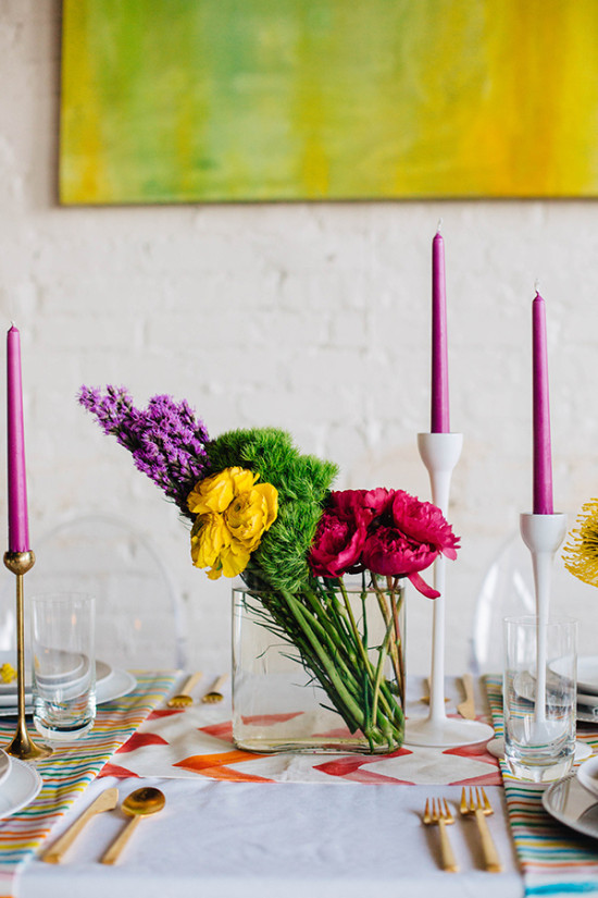 color block centerpiece florals