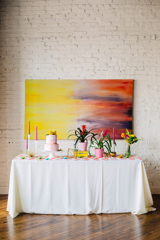 watercolor wedding cake table