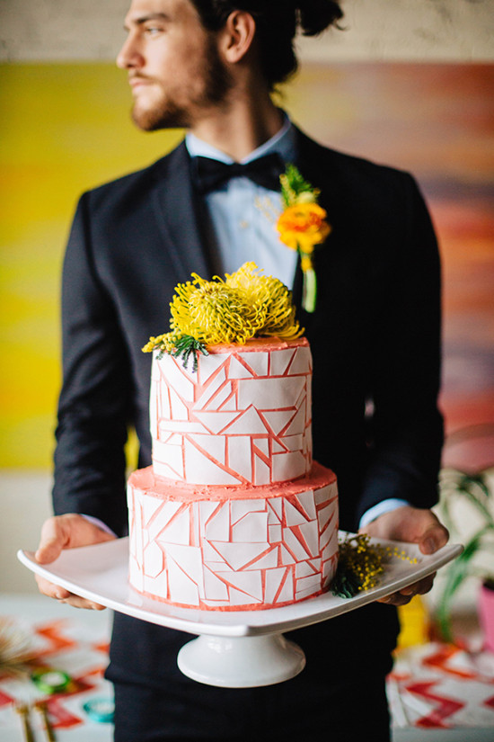 peach and white geometric wedding cake