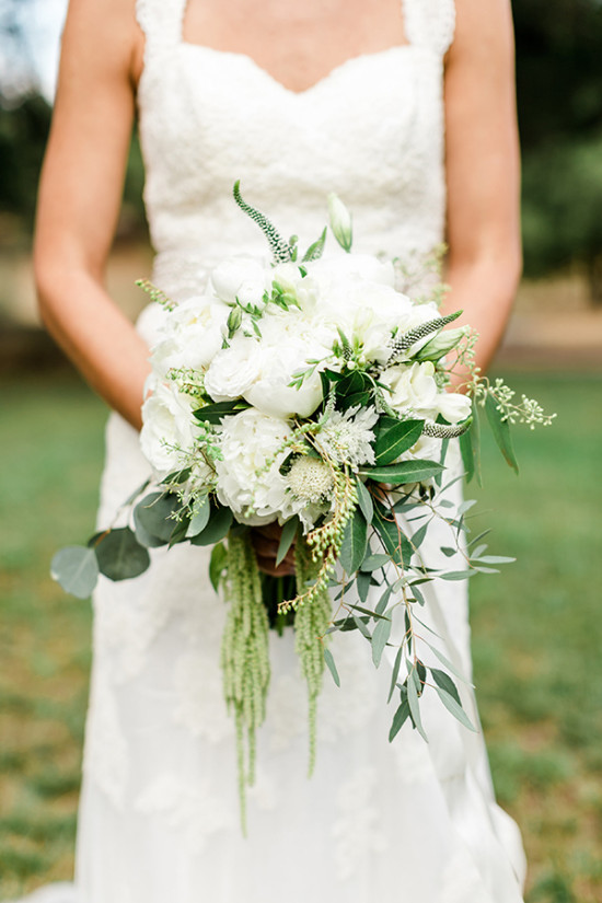 organic crisp white wedding bouquet