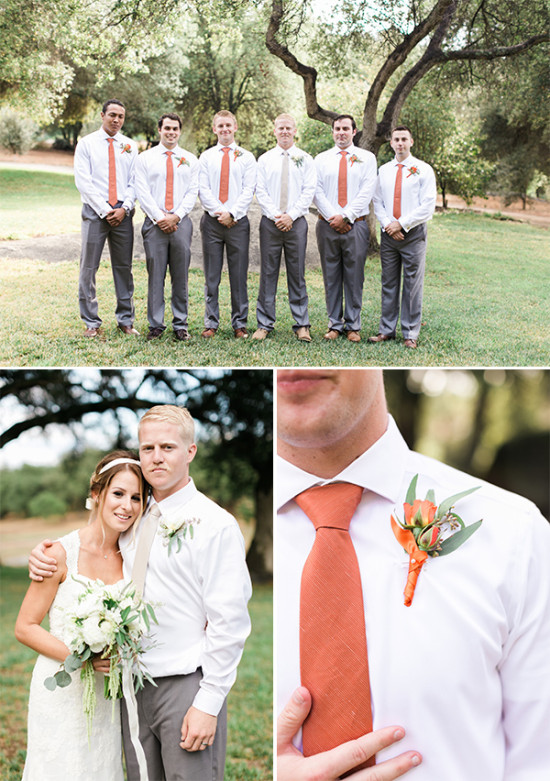 groomsmen with orange tie