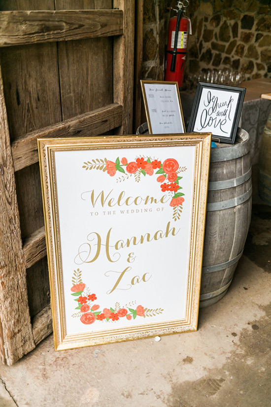 gold and orange wedding welcome sign