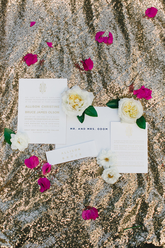 White and gold wedding invitation ideas