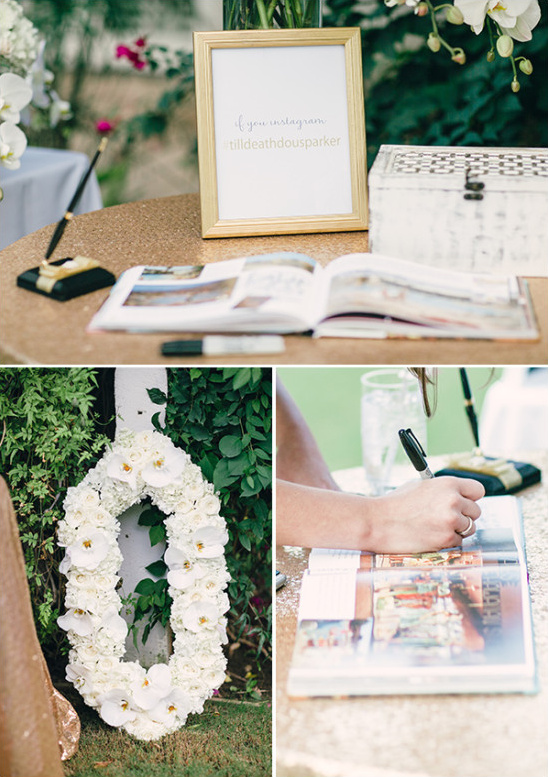 White and gold guestbook table details