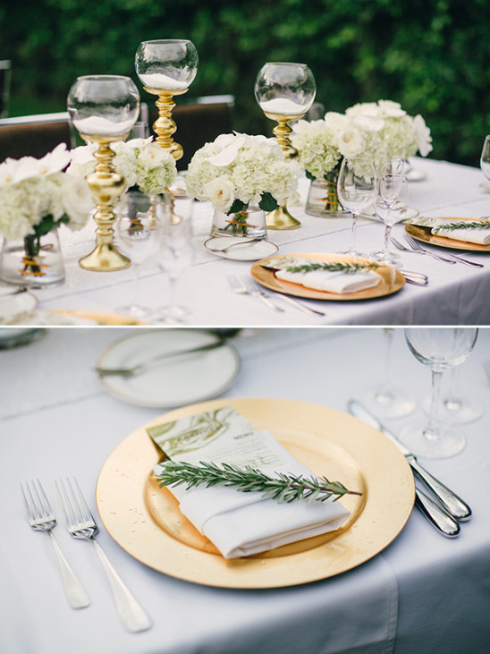 White and gold table details and decor
