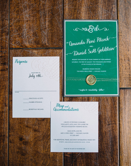 green modern wedding invitations