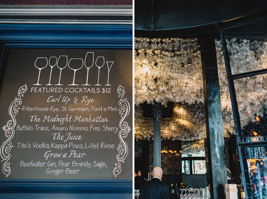 wine glass chandeliere and freatured cocktail sign