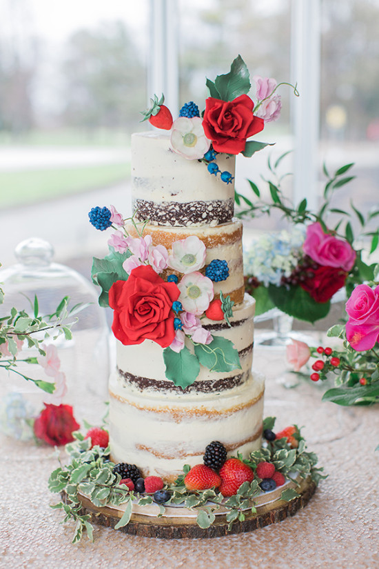 Blue and red naked wedding cake