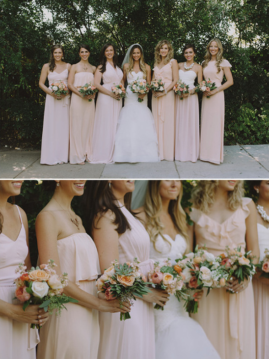 Bridesmaids in blush and peach tones